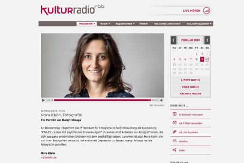 Nora Klein, Fotografin; Ein Porträt von Margit Miosga im rbb Kulturradio